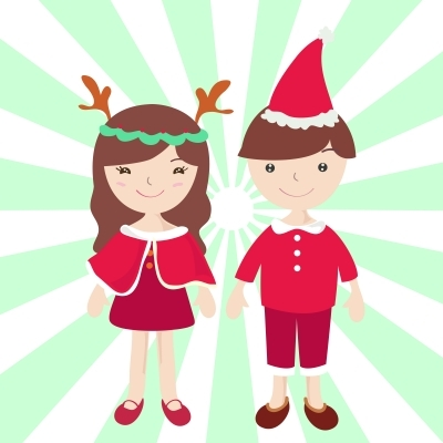 boy and girl in santa claus costume